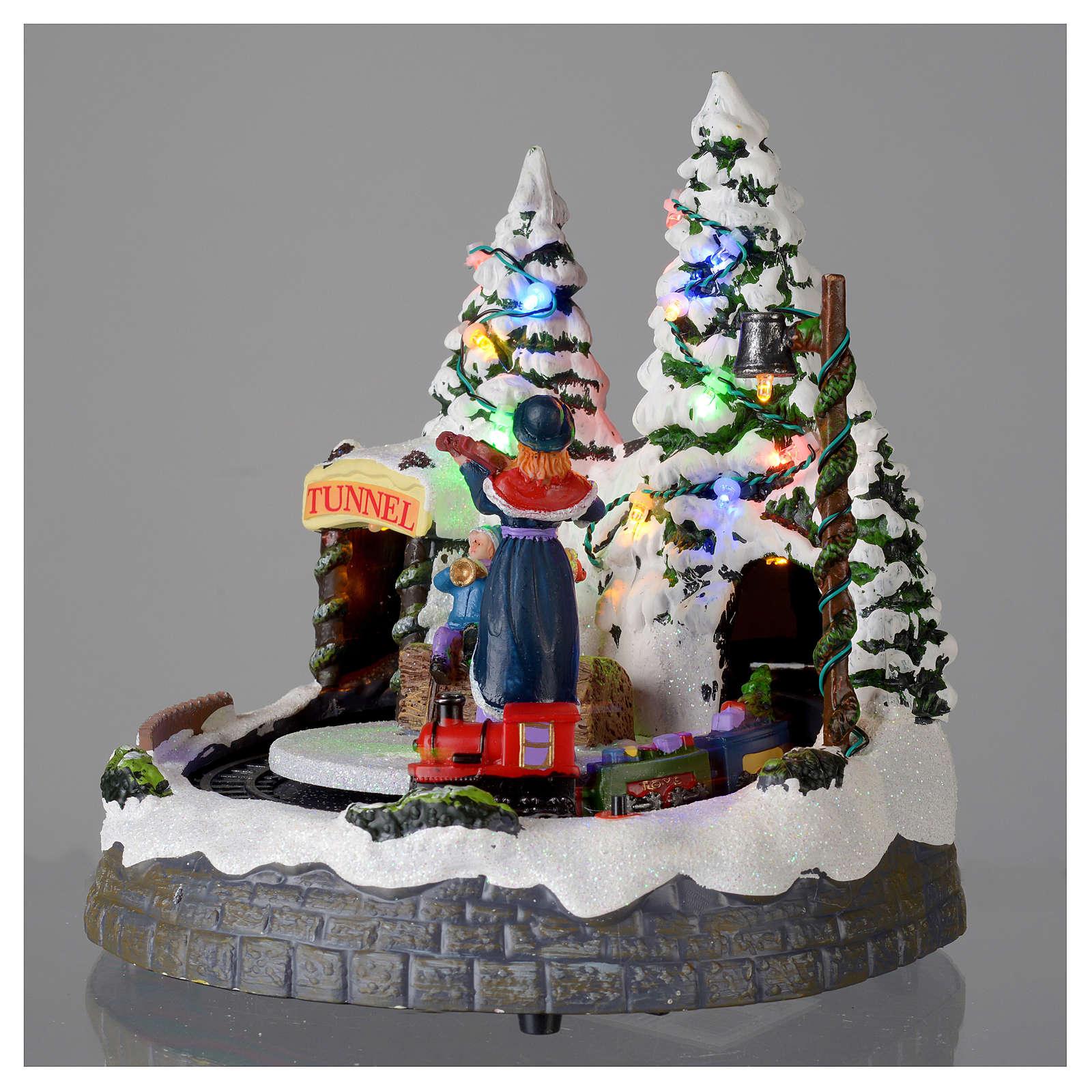 Village blanc de Noël avec train en mouvement 20x20x20 cm 3