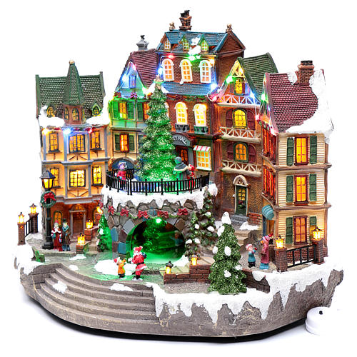 Paisaje navideño musical con luces 30x40x25 cm 2