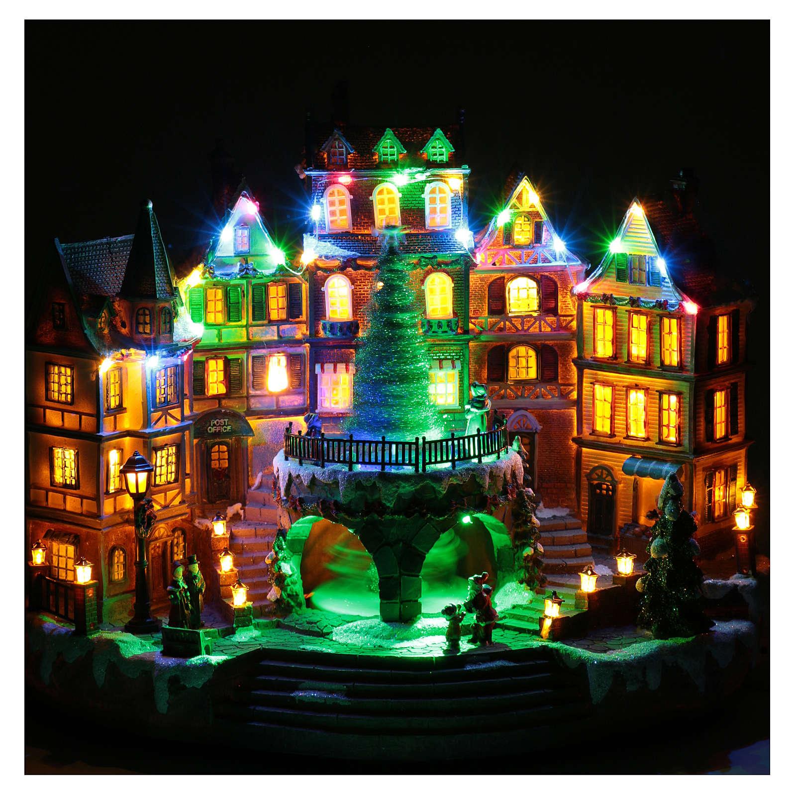 Scena natalizia musicale con luci 30x40x25 cm 3