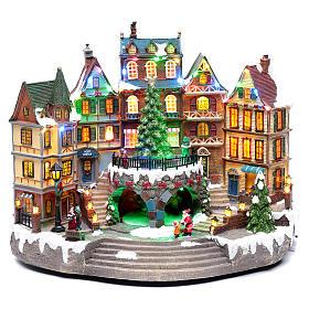 Scena natalizia musicale con luci 30x40x25 cm s1