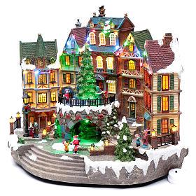 Scena natalizia musicale con luci 30x40x25 cm s2