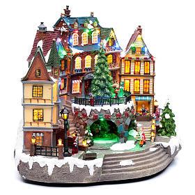 Scena natalizia musicale con luci 30x40x25 cm s3