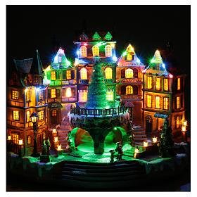 Scena natalizia musicale con luci 30x40x25 cm s4
