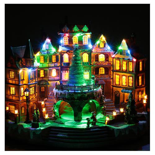 Scena natalizia musicale con luci 30x40x25 cm 4