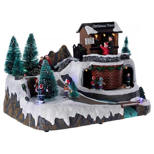 Winterszene mit kleinem Fluss und Musik 20x25x20cm 4