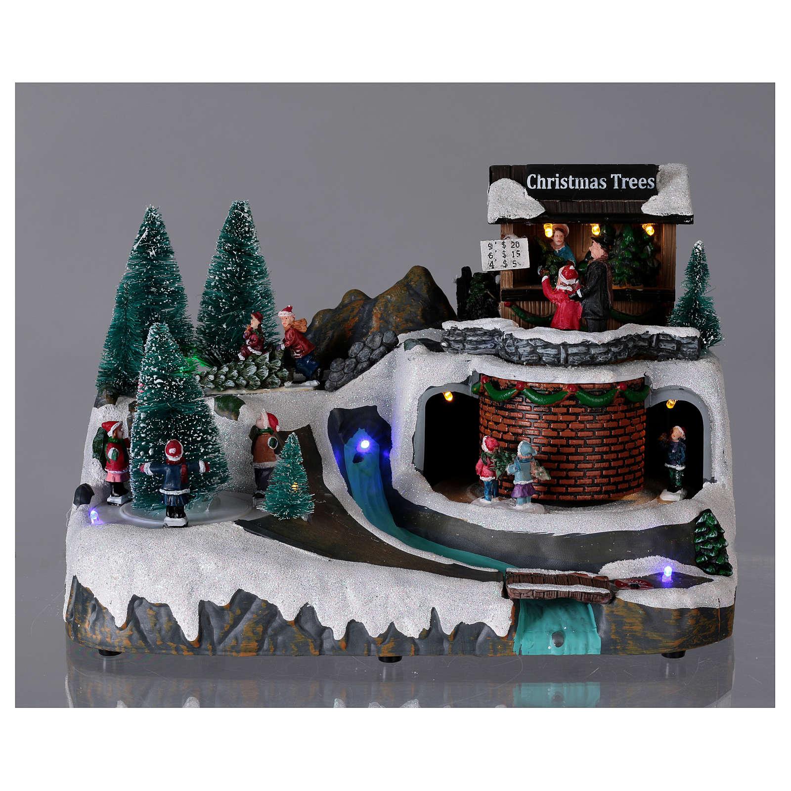 Paisaje navideño iluminado con musica y movimiento 20x25x20 cm 3