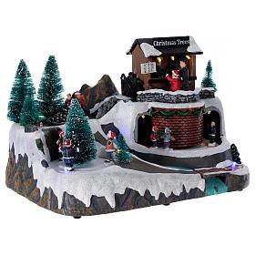 Boże Narodzenie scenka podświetlana z muzyką i poruszającymi się postaciami 20x25x20 cm s4