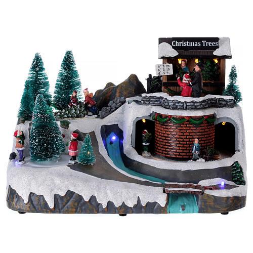 Boże Narodzenie scenka podświetlana z muzyką i poruszającymi się postaciami 20x25x20 cm 1