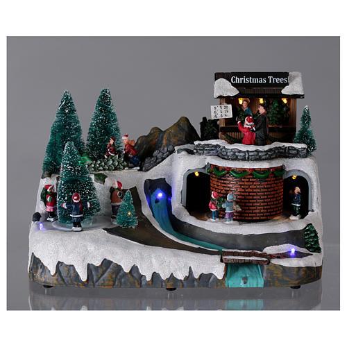 Boże Narodzenie scenka podświetlana z muzyką i poruszającymi się postaciami 20x25x20 cm 2