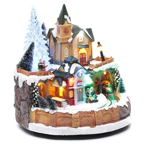 Scena invernale con illuminazione e melodia 25x20x25 cm 3