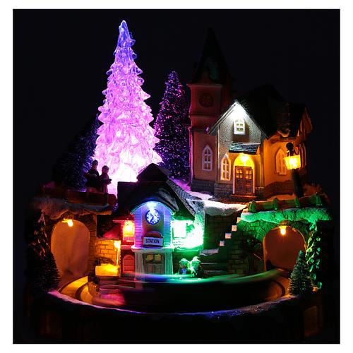 Scena invernale con illuminazione e melodia 25x20x25 cm 4