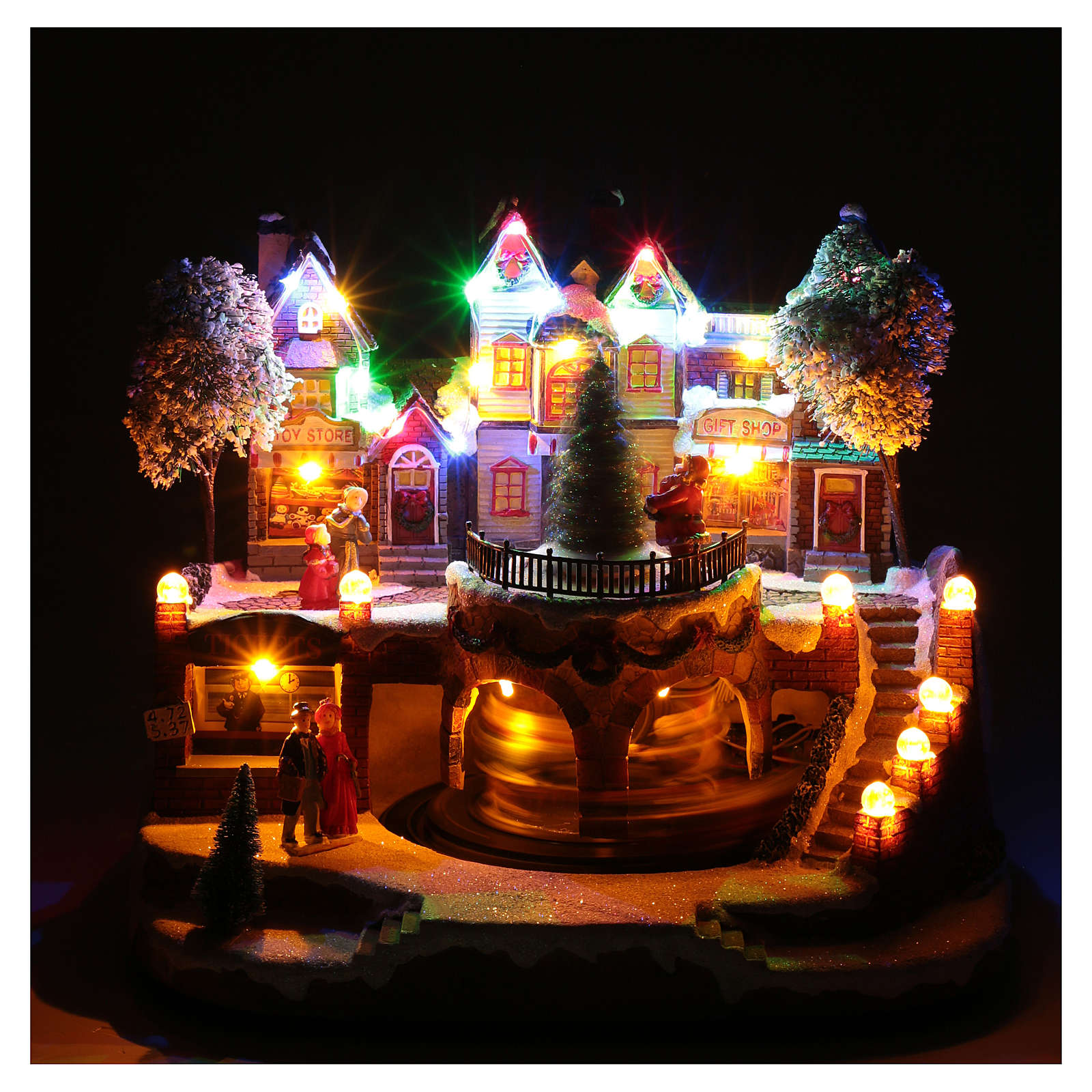 Christmas village with moving train 25x25x20 cm 3