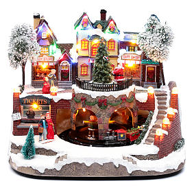 Christmas village with moving train 25x25x20 cm s1