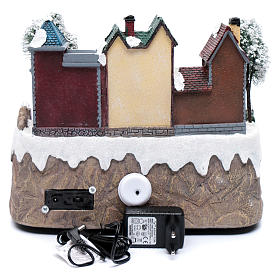 Christmas village with moving train 25x25x20 cm s5