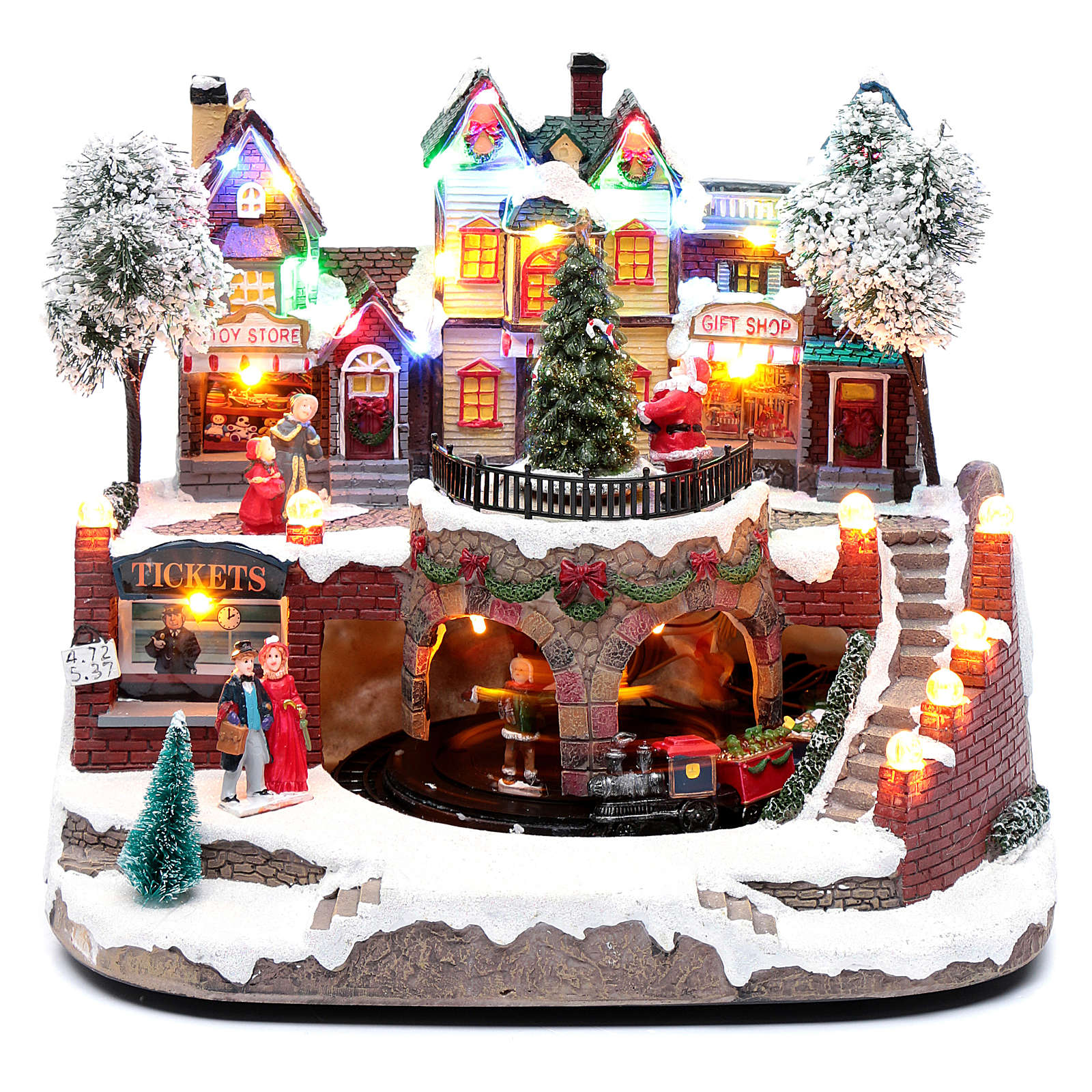 Paisaje navideño con tren en movimiento, iluminación y música 25x25x20 cm 3