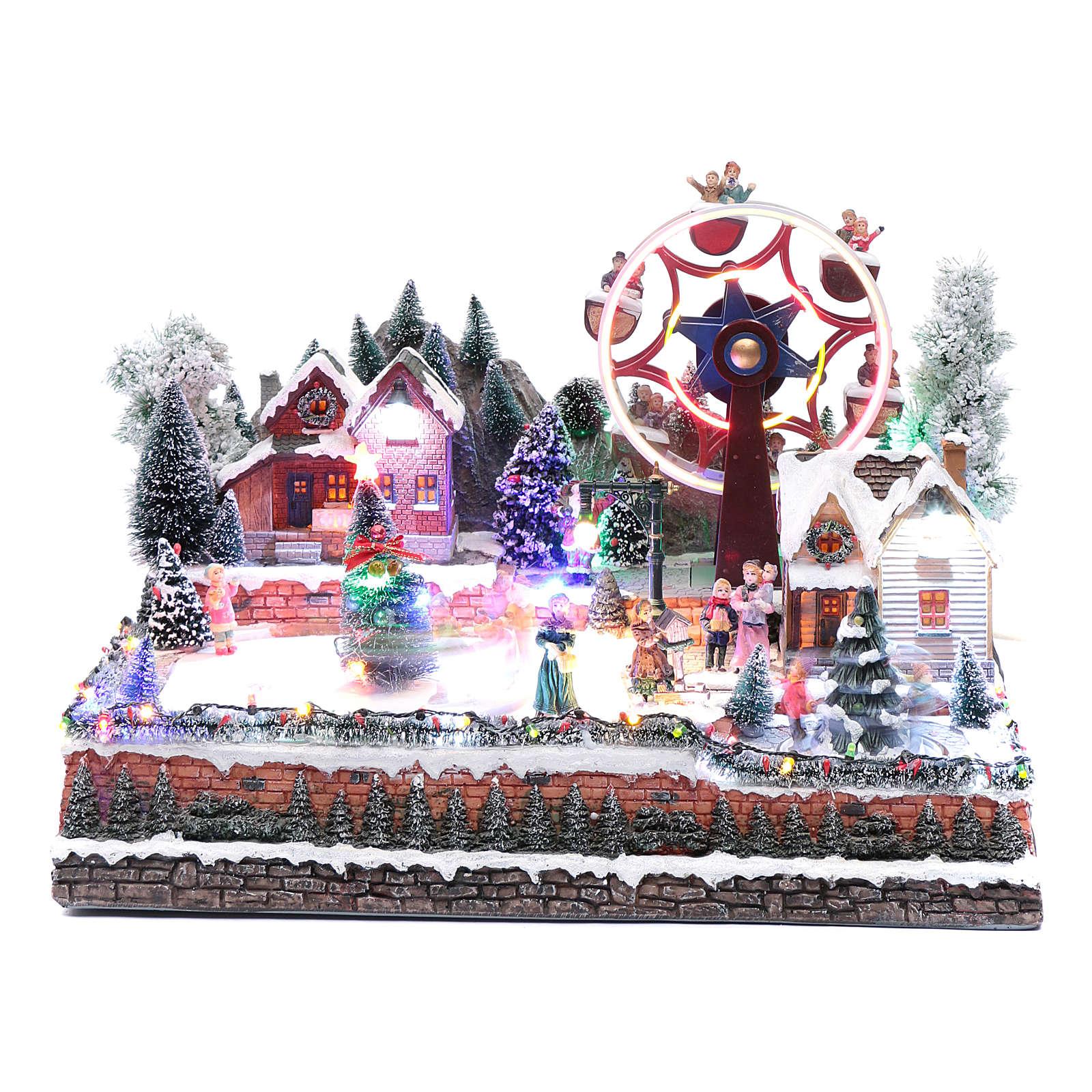 Ruota panoramica invernale con albero rotante 30x40x35 cm 3
