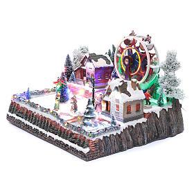 Ruota panoramica invernale con albero rotante 30x40x35 cm s2