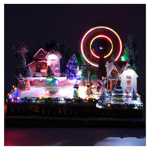 Ruota panoramica invernale con albero rotante 30x40x35 cm 4
