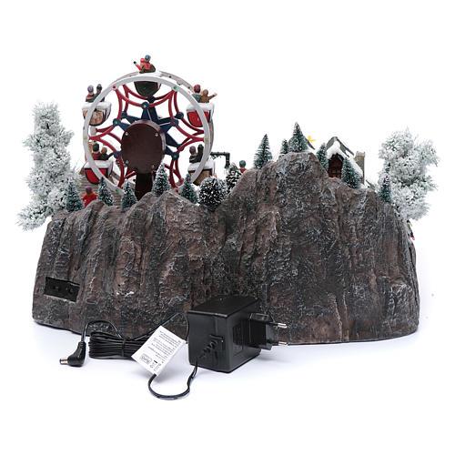 Ruota panoramica invernale con albero rotante 30x40x35 cm 5