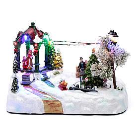 Paisaje navideño con movimiento, luces y música navideña 20x25x15 cm s1