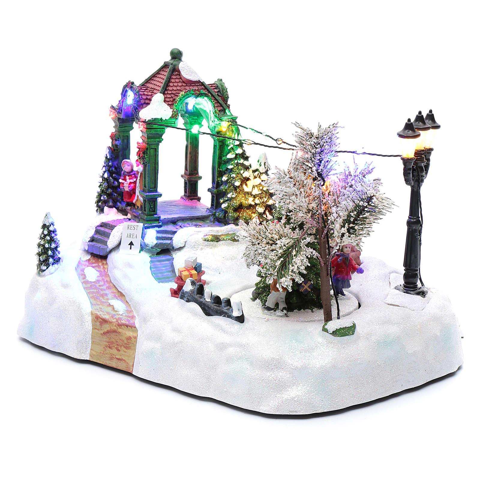 Villaggio animato albero movimento luci led musica natalizia 20x25x15 cm 3