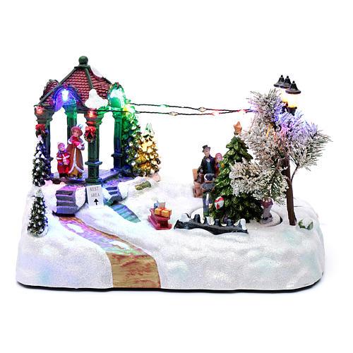 Villaggio animato albero movimento luci led musica natalizia 20x25x15 cm 1