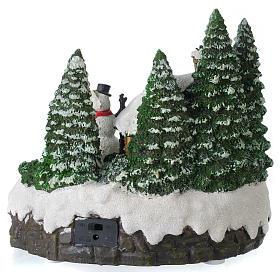 Villaggio di Natale illuminato pupazzo di neve movimento 20x20x15 cm s5