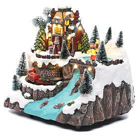 Villaggio natalizio musicale treno movimento e pattinaggio 25x25x15 cm s3