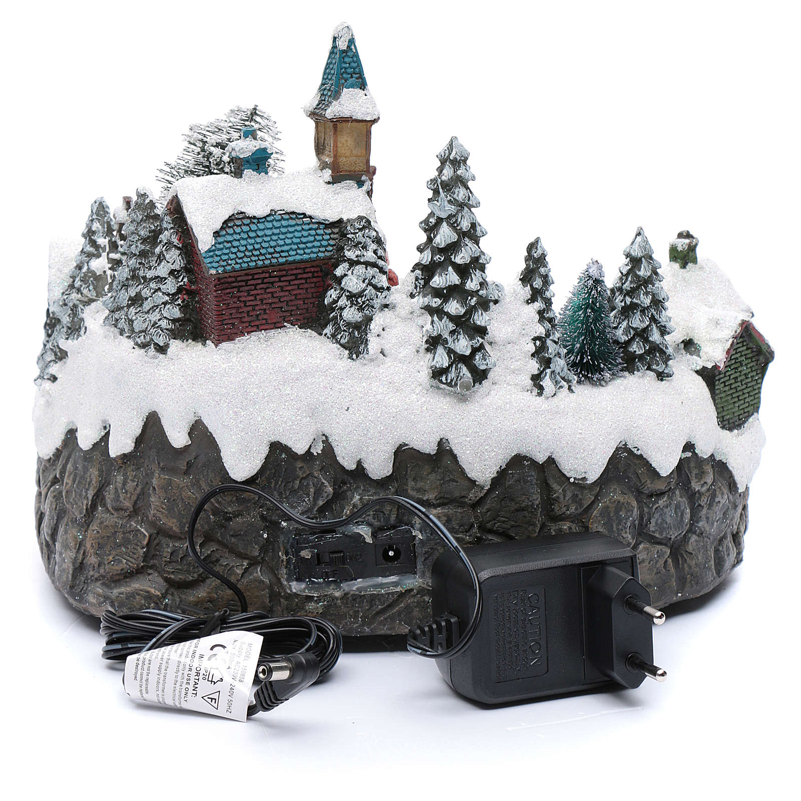 Animated village with ice skating and stream  20x25x20 cm 3