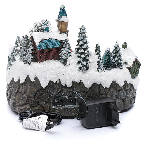 Animated village with ice skating and stream  20x25x20 cm 5