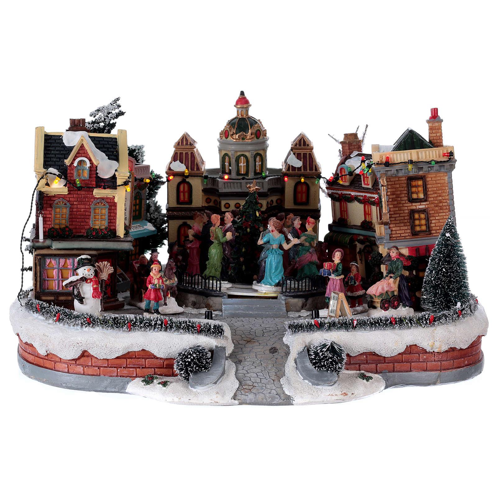 Scène de Noël avec piste de danse en mouvement 25x40x40 cm 3