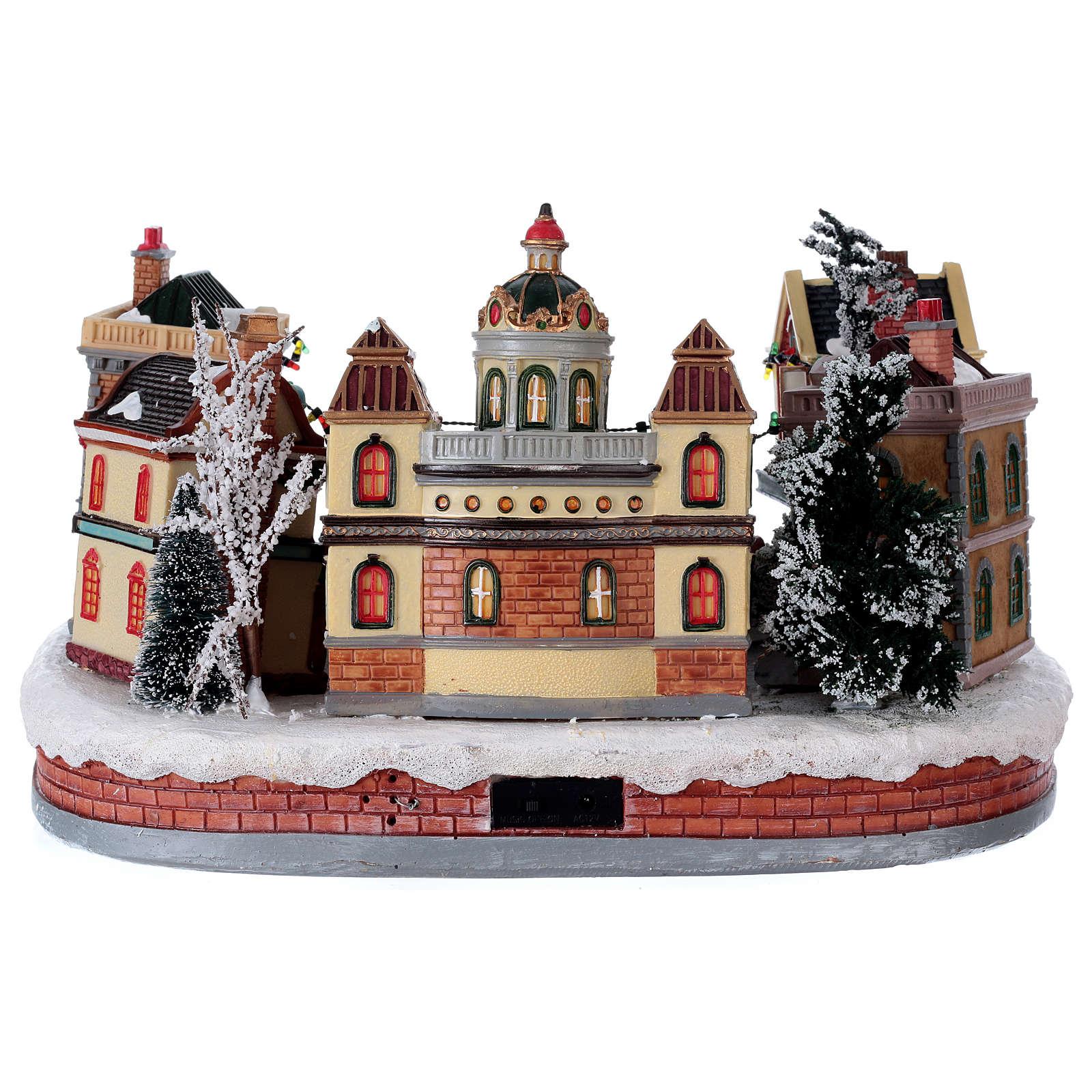 Scena di Natale con pista da ballo in movimento 25x40x40 cm 3