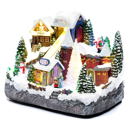 Moving Christmas ski slope with tree 25x30x15 cm 2