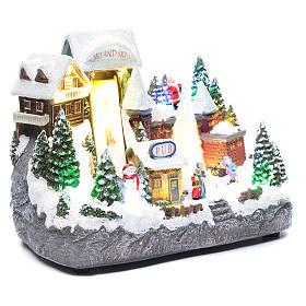 Paisaje navideño pista de esquí con árbol en movimiento 25x30x15 cm s3