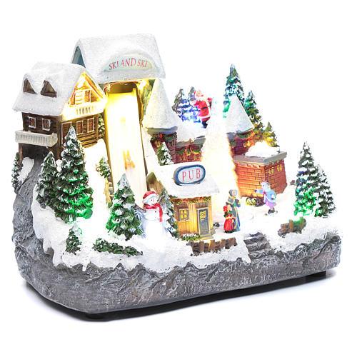 Paisaje navideño pista de esquí con árbol en movimiento 25x30x15 cm 3