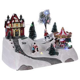 Christmas musical scene with merry-go-round 20x30x15 cm s4