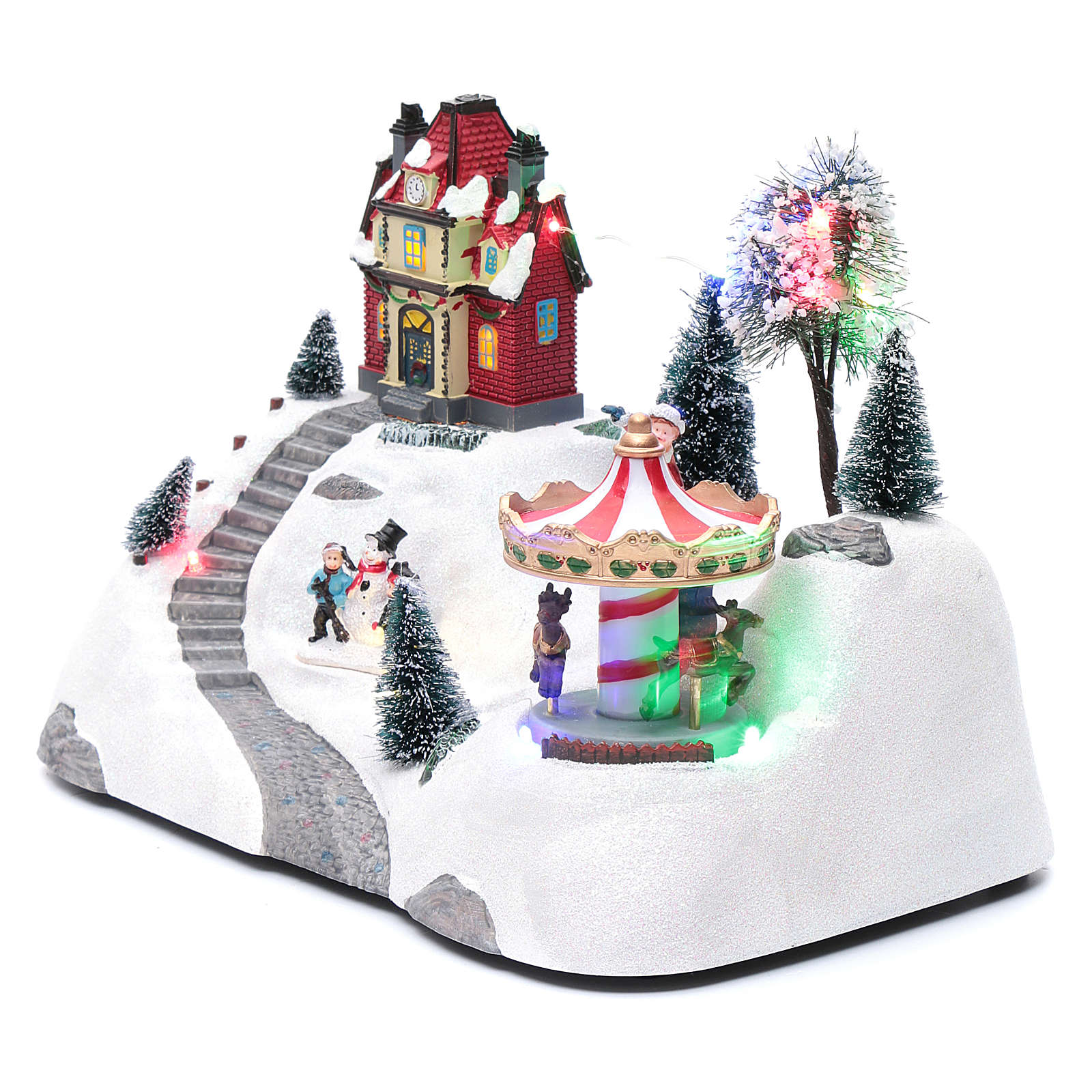 Escena navideña musical con carrusel y patinador en movimiento 20x30x15 cm 3