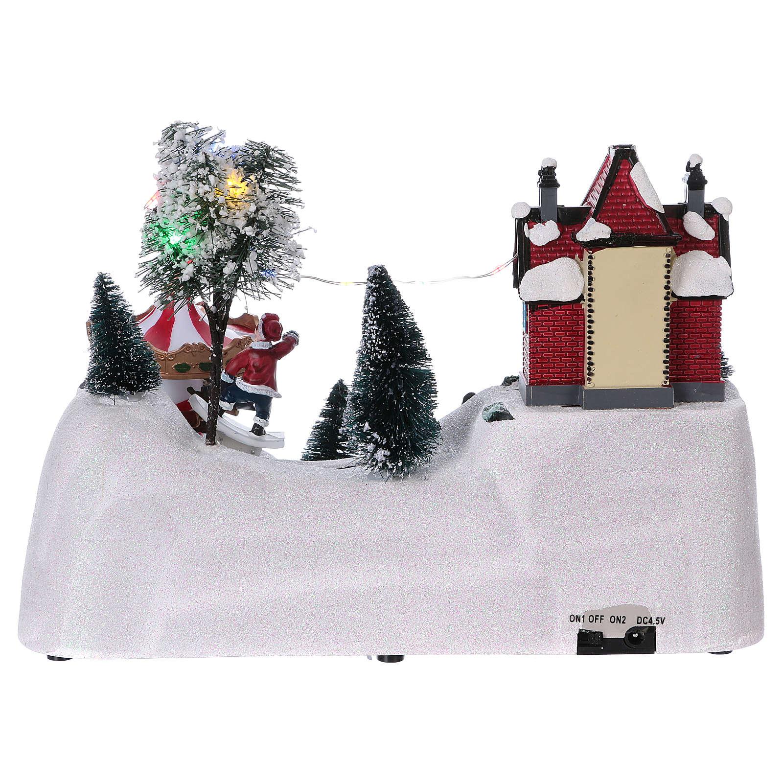 Scène Noël musicale avec carrousel 20x30x15 cm 3