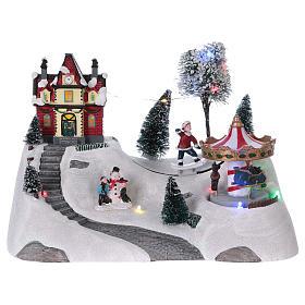 Cenários Natalinos em Miniatura: Cenário natalino musical com carrossel 20x30x15 cm