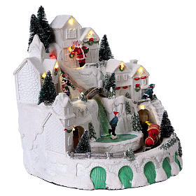 White Christmas village with music 25x25x25 cm s3