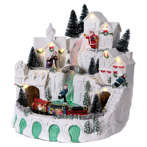 White Christmas village with music 25x25x25 cm 4