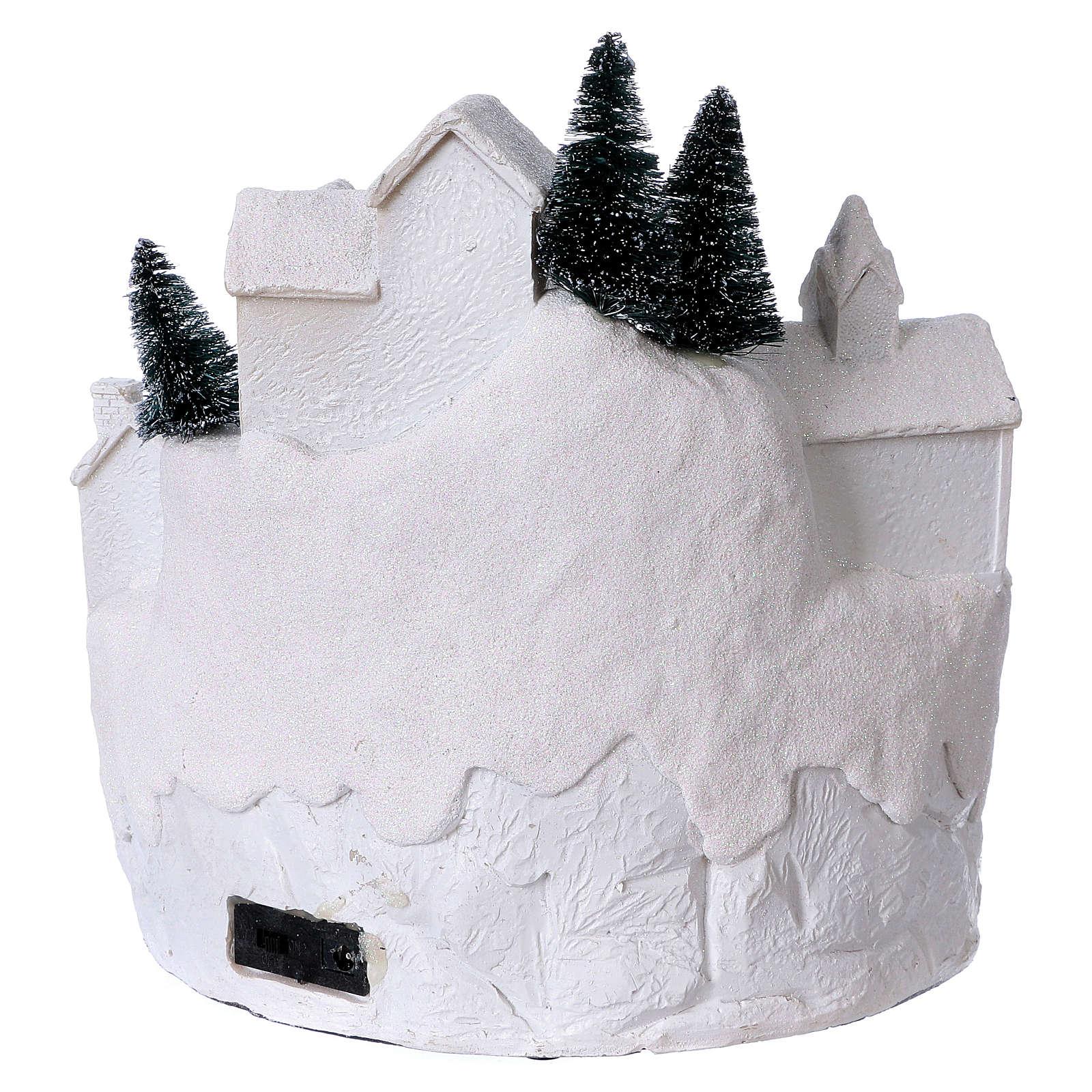 Village blanc noël avec musique 25x25x25 cm 3