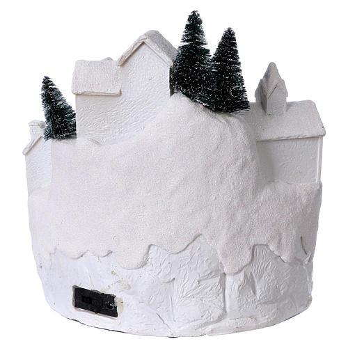 Village blanc noël avec musique 25x25x25 cm 5