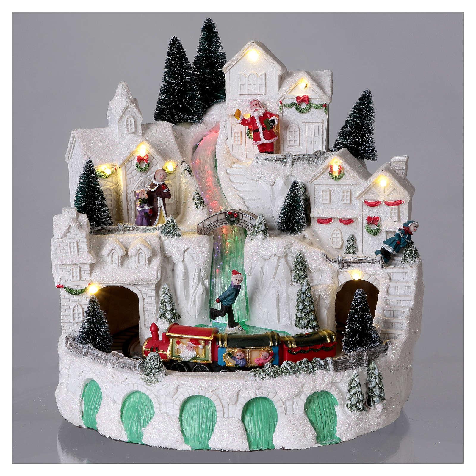 Villaggio bianco natalizio con musica 25x25x25 cm 3