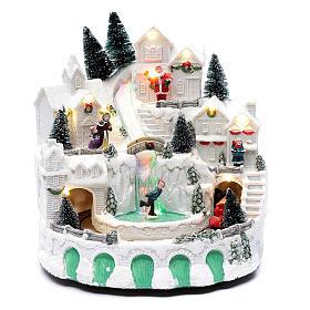 Villaggio bianco natalizio con musica 25x25x25 cm s1