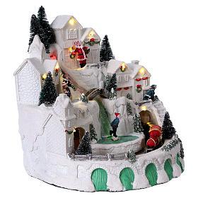Villaggio bianco natalizio con musica 25x25x25 cm s3