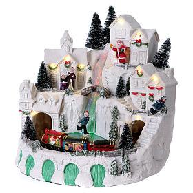 Villaggio bianco natalizio con musica 25x25x25 cm s4