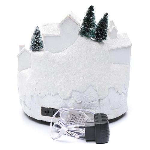 Villaggio bianco natalizio con musica 25x25x25 cm 5
