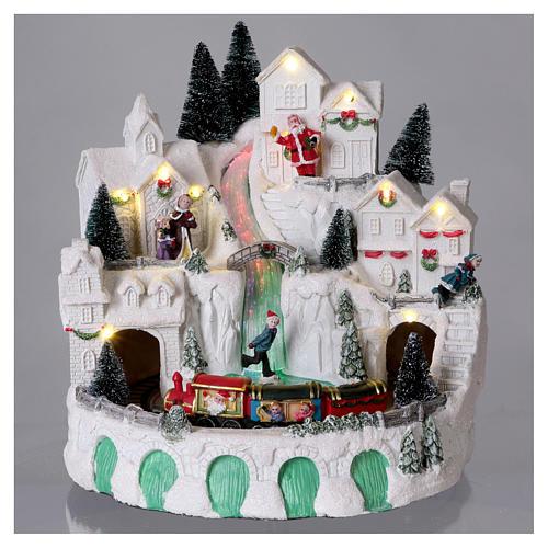 Villaggio bianco natalizio con musica 25x25x25 cm 2