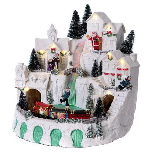 Villaggio bianco natalizio con musica 25x25x25 cm 4